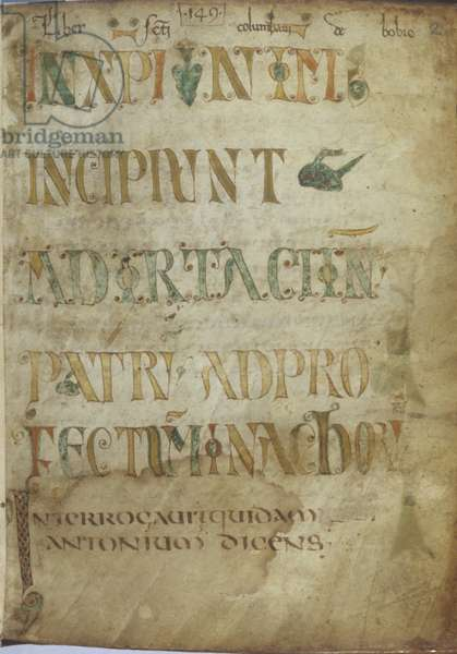 Title page with colored text in capital letters, by Unknown Artist, cod. Ambr. F. 84 Inf., 9th Century ca., miniature