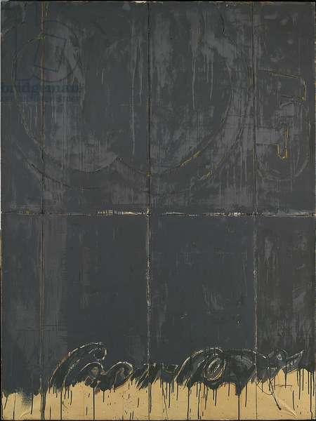 Detail of exterior - Coca-Cola (Particolare di esterno - Coca-Cola), by Mario Schifano, 1966, 20th Century, enamel and pastel on paper mounted on canvas, 200 ? 149.5 cm