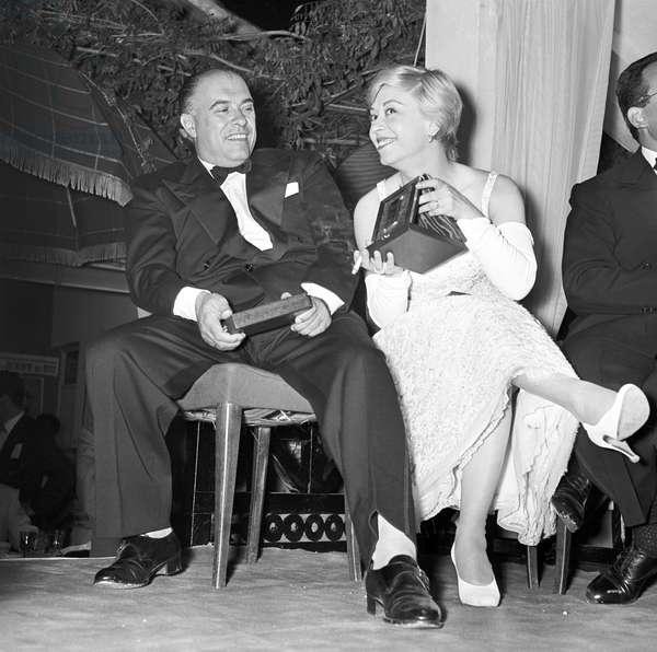 Giulietta Masina and Carlo Ponti attending the Nastri d'Argento ceremony, Italy, 1955 (b/w photo)