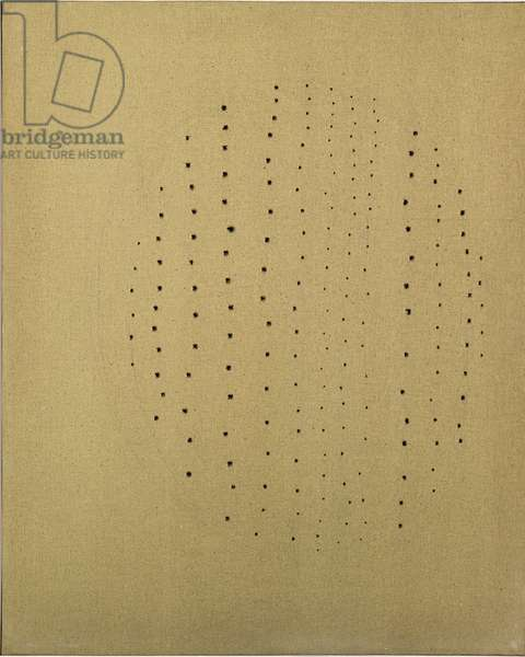 Spatial Concept (Concetto spaziale), by Lucio Fontana, 1960, 20th Century, pencil on canvas, 100 x 80 cm