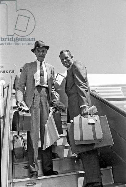 James Stewart and Charlton Heston leaving from Fiumicino, Fiumicino, Italy, 1961 (b/w photo)