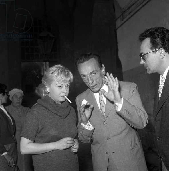 Eduardo De Filippo and Giulietta Masina on the set of the film Fortunella, Italy, 1957 (b/w photo)