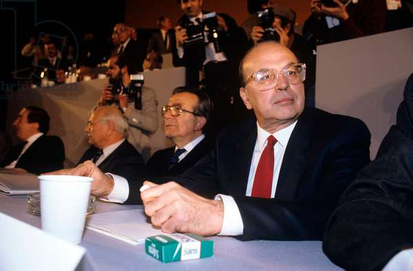 Bettino Craxi and Giulio Andreotti in a public meeting