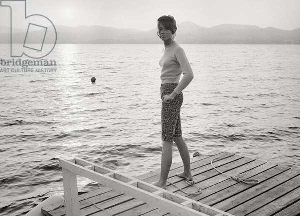 Francoise Hardy on a quay, 1966 (b/w photo)