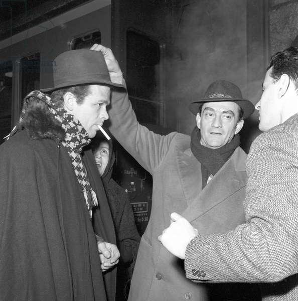 Renato Salvatori and Luchino Visconti on the movie set of Rocco and His Brothers (b/w photo)