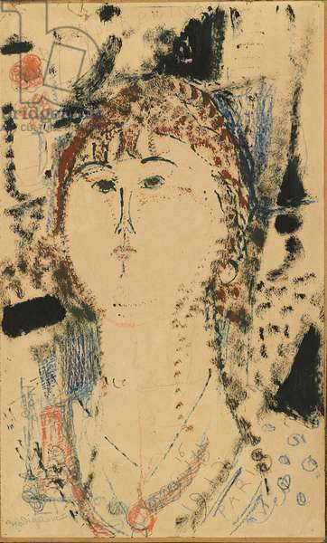 Rosa porprina - Female Head, by Amedeo Modigliani, 1915, 20th Century, mixed media on paper, 44 ? 27 cm