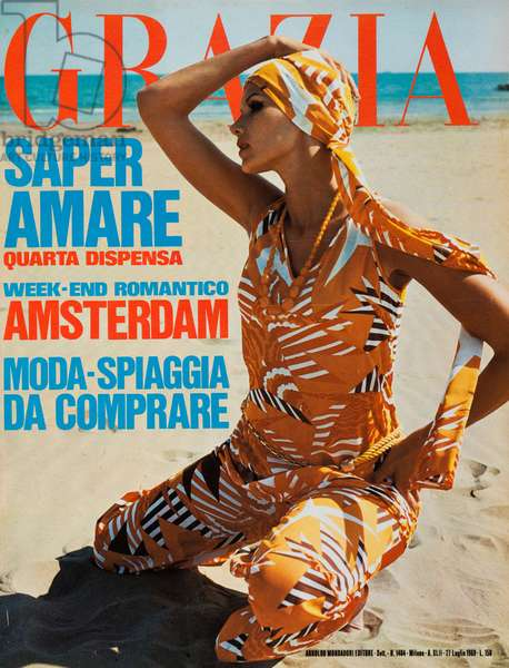 Cover of the women's magazine Grazia, A model wearing a suit by Gianna de Rossi: tunic and pants in printed cotton in different shades of orange, July 1969 (b/w photo)