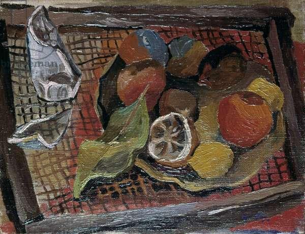 Still Life with Broken Glass (Natura morta con bicchiere rotto), by Renato Guttuso, 1940, 20th Century, oil on canvas, 35 x 45 cm