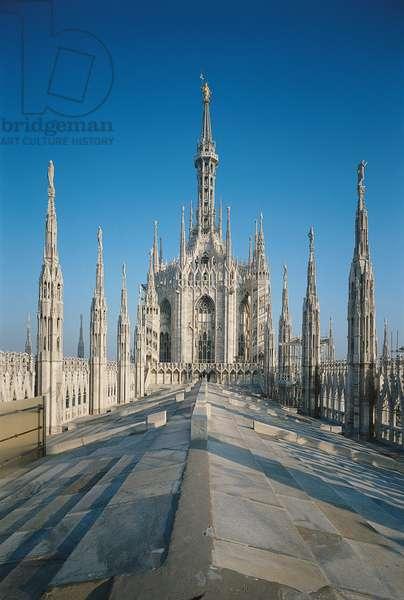 Milan Cathedral (Duomo di Milano), by Pellegrino Tibaldi known as Pellegrino de' Pellegrini, Martino Bassi, Francesco Maria Richini (Ricchini, Richino o Ricchino), Giovanni Antonio Amadeo, Giovanni Giacomo Dolcebuono, 1386, 14th Century, Candoglia marble