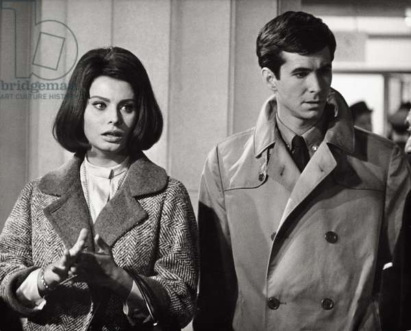 Sophia Loren and Anthony Perkins in a scene of the film 'Five Miles to Midnight', 1962 (b/w photo)