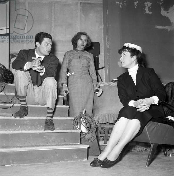 Marcello Mastroianni and Silvana Pampanini being interviewed on TV, Italy, 1956 (b/w photo)
