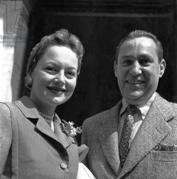 Olivia de Havilland in Rome, Italy, 1958 (b/w photo)