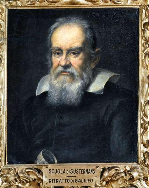 Portrait of Galileo Galilei holding a telescope (Ritratto di Galileo Galilei con cannocchiale), Giusto Sustermans' school, 1639, 17th Century