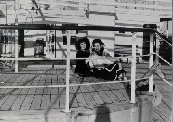 Maria Callas on the ship to Italy, 1947 (b/w photo)
