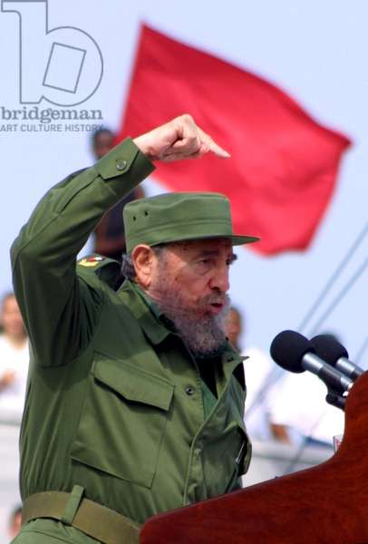Fidel Castro fired up during a rally