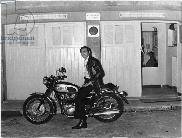 Pippo Baudo on a motorcycle, Italy