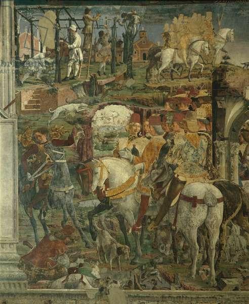 Allegory of March: Hunting Scene, Borso d'Este does Justice, Pruning of the Grapevine (Mese di Marzo: Scena di caccia, Borso d'Este rende Giustizia, Potatura della vite), by Francesco del Cossa, 1469 - 1470, 15th Century, fresco