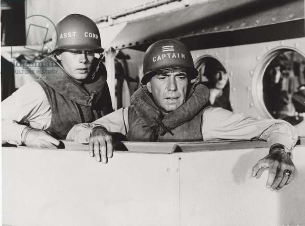 Humphrey Bogart and Robert Francis in 'The Caine Mutiny', 1954 (b/w photo)