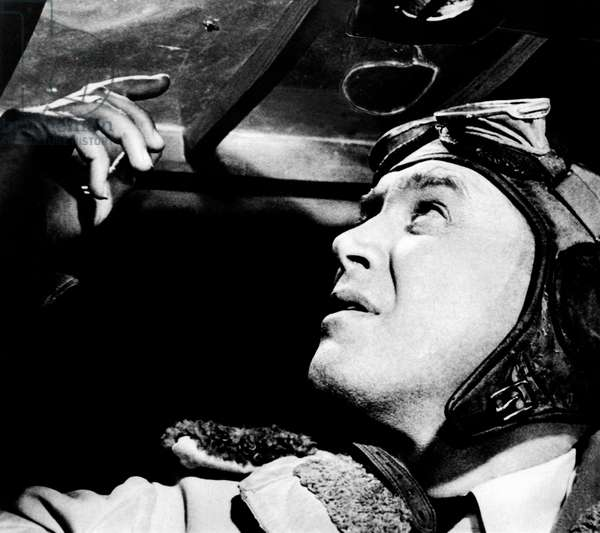 James Stewart playing the role of Charles Lindbergh, in a scene from the movie 'The Spirit of St. Louis'. USA, 1957