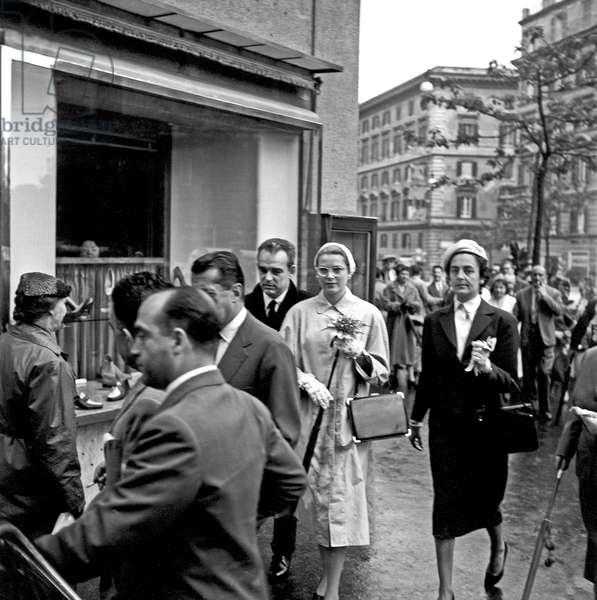 Rainier III and Grace Kelly visiting Rome, Rome, Italy, 1959 (b/w photo)