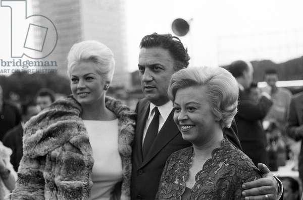Giulietta Masina, Anita Ekberg and Federico Fellini, Italy, 1961 (b/w photo)