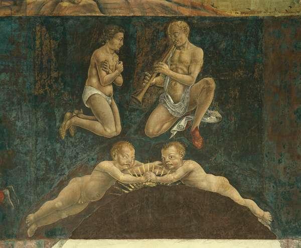 Allegory of May: Astrological Symbols of Gemini (Mese di Maggio: Simboli astrologici dei Gemelli), by Francesco del Cossa, 1469 - 1470, 15th Century, fresco
