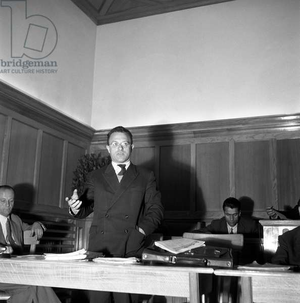 Italian politician Alfons Benedikter, founder of the South Tyrolean People's Party, speaking at a meeting during the regional election in Trentino-Alto Adige/Sudtirol, Italy, November 1952 (b/w photo)