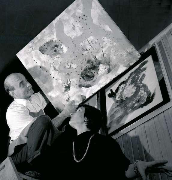 Lucio Fontana in his atelier