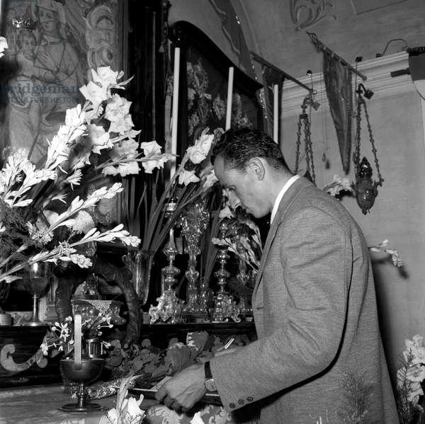 Ercole Baldini visiting the sanctuary of the Madonna del Ghisallo, Magreglio, Italy