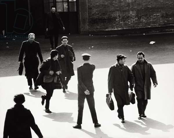 The coming out of Fiat factory, 1963 (b/w photo)