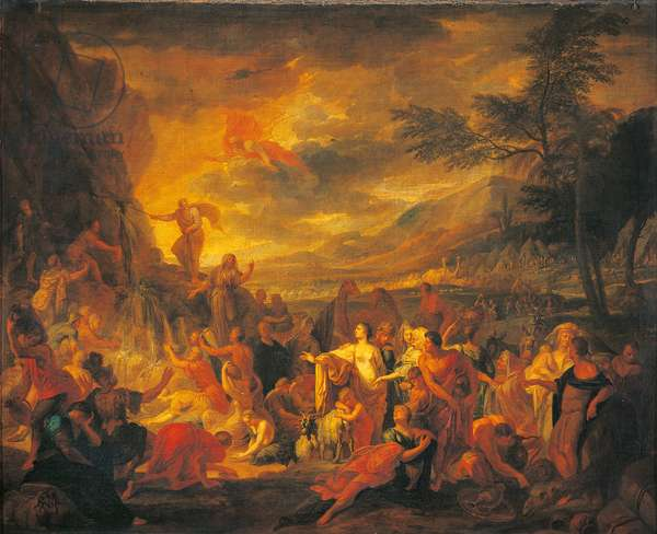 Moses Draws Water from the Desert, by Unknown French artist, 17th Century, oil on canvas, 125 x 152 cm