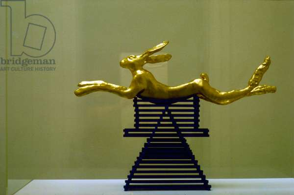 Large Leaping Hare, 1982 (gilded bronze and stained wood stand)