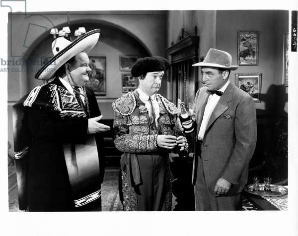Laurel, Hardy and Dick Lane in 'The bullfighters', 1945 (b/w photo)