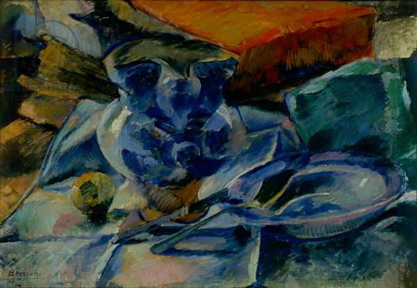 Still Life with Earthenware Cutlery and Fruits - Still Life with Pitcher and Soup Plate, 1915 (oil on canvas)