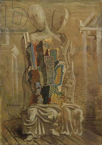 The Son of Ebdomeros or Hebdomeros' Children (Les fils d'Ebdomeros o Les enfants de Hebdomèros), by Giorgio de Chirico, 1926, 20th Century, oil on canvas, 92,1 x 65,2 cm