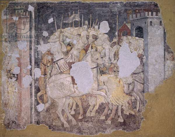 Battle Scene, by Unknown Artist from Verona, 14th Century, torn fresco