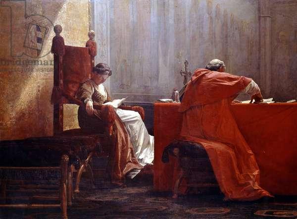 Lucrezia Borgia with her father Pope Alexander VI (Lucrezia Borgia col padre), by Giuseppe Boschetto, 19th Century