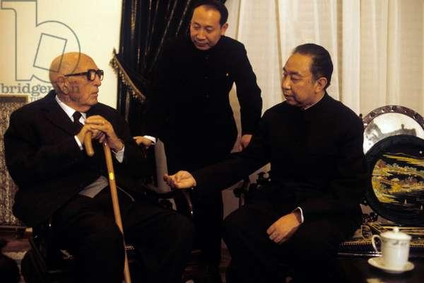 Pietro Nenni meeting Hua Guofeng in Rome