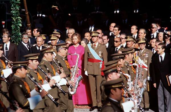 Juan Carlos I of Spain watching a military parade with Sophia of Greece, Madrid, Spain