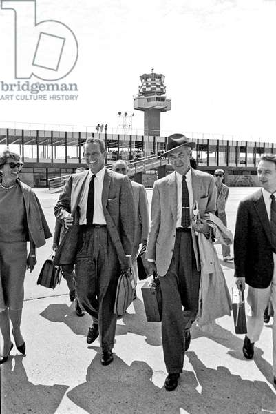 James Stewart and Charlton Heston at Fiumicino Airport, Fiumicino, Italy, 1961 (b/w photo)