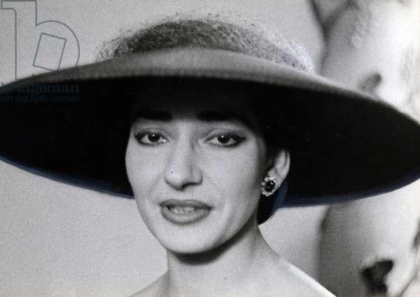 Portrait of Maria Callas, 1950 (b/w photo)