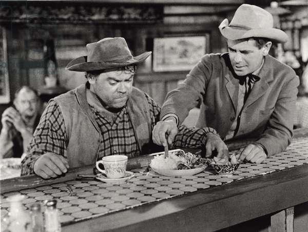 Actors Glenn Ford, Edgar Buchanan, 1958 (b/w photo)