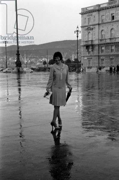 Italian actress Claudia Cardinale (Claude Josèphine Rose Cardinale) posing on the set of the film Careless, Trieste, 1961 (b/w photo)