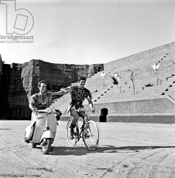 Charlton Heston and Stephen Boyd on the set of the film 'Ben Hur', Rome, Italy, 1958 (b/w photo)