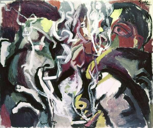 Smoking Men (Uomini che fumano), by Renato Guttuso, 1958, 20th Century, oil on canvas, 85 x 71 cm