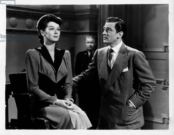 Walter Pidgeon and Rosalind Russell acting in 'Design for scandal', 1941 (b/w photo)