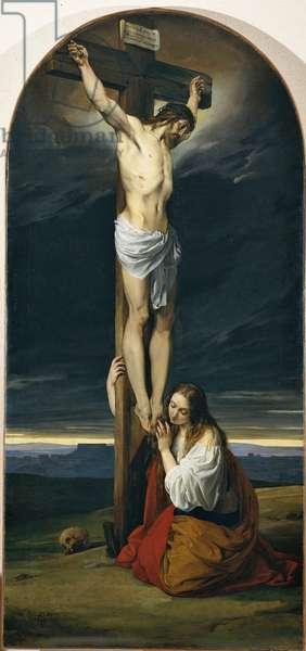 Jesus Chris on the Cross and Maddalena kneeling and crying (Cristo crocifisso con la Maddalena genuflessa e piangente), by Francesco Hayez, 1827, 19th Century, canvas