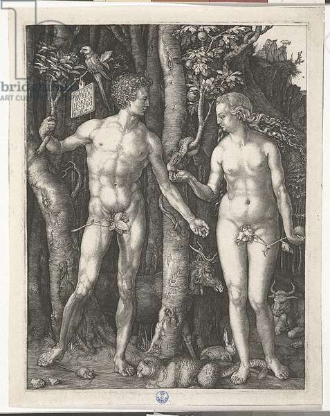 Adam and Eve, by Albrecht Durer, 1504, 16th Century (burin engraving)
