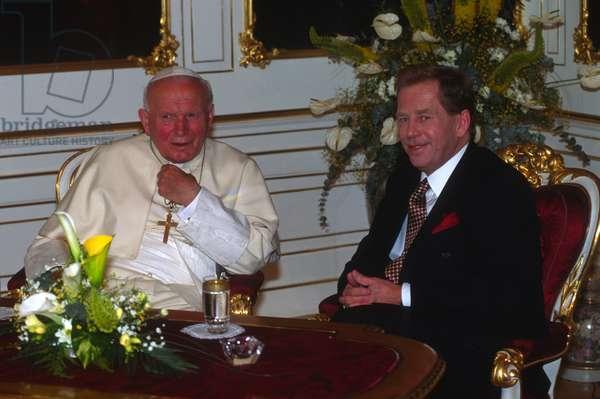 Pope John Paul II meeting Vaclav Havel, Prague, Czech Republic