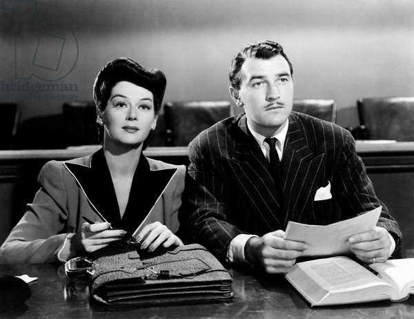 Rosalind Russell and Walter Pidgeon in 'Design for scandal', 1941 (b/w photo)